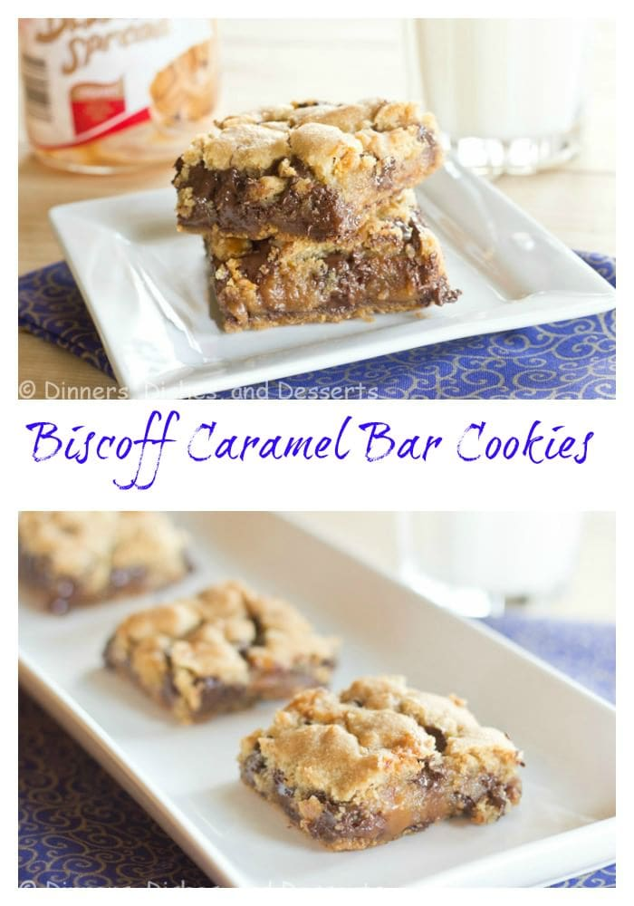 biscoff caramel cookie bars on a plate