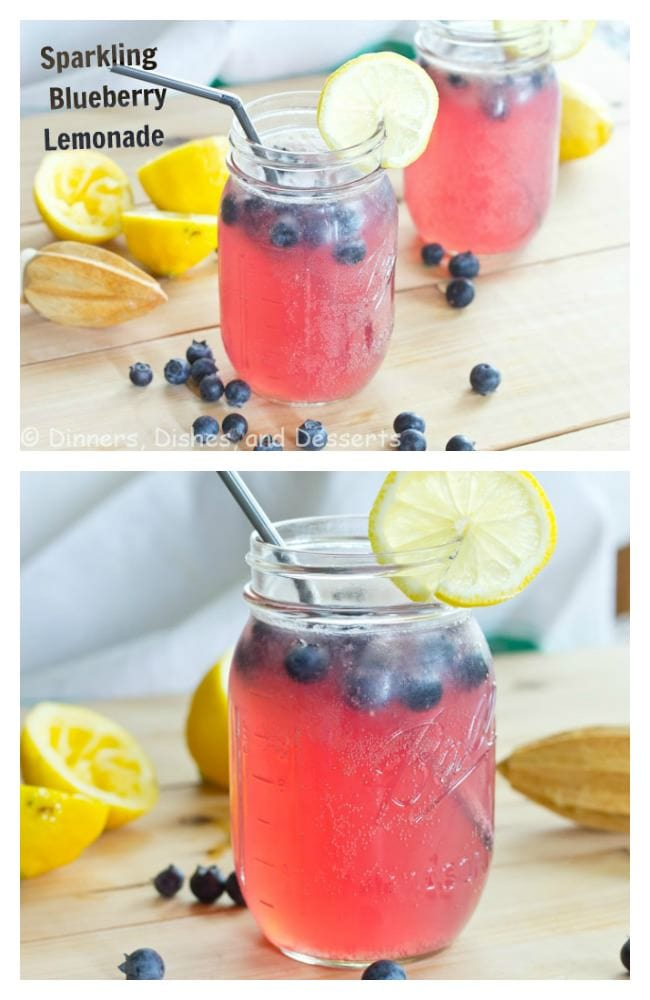 Sparkling Blueberry Lemonade {Dinners, Dishes, and Desserts}