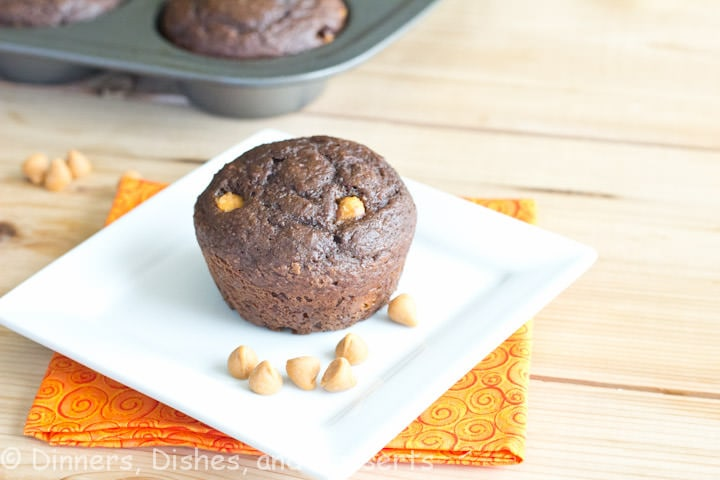 chocolate applesauce muffins on a plate