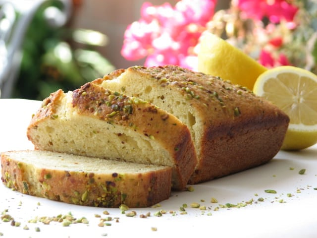 lemon loaf with thyme and pistachios