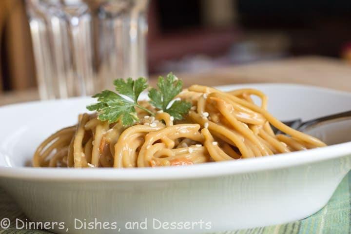asian peanut noodles on a plate