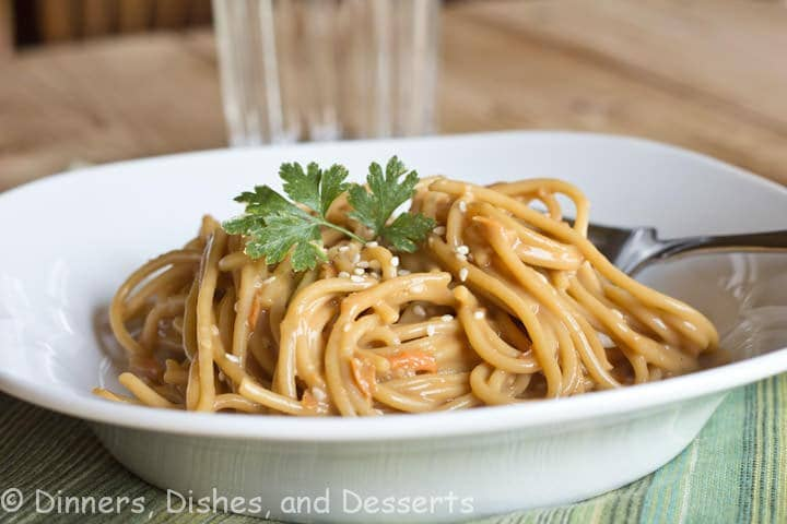 Noodles in a soy and peanut butter sauce. Light, and perfect for lunch. Add chicken, shrimp, pork, or more veggies and turn it into dinner!