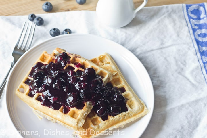 blueberry waffles with blueberry sauce