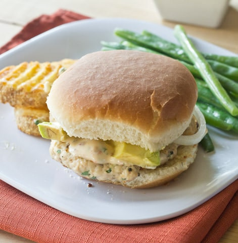 chipotle chicken burgers on a plate