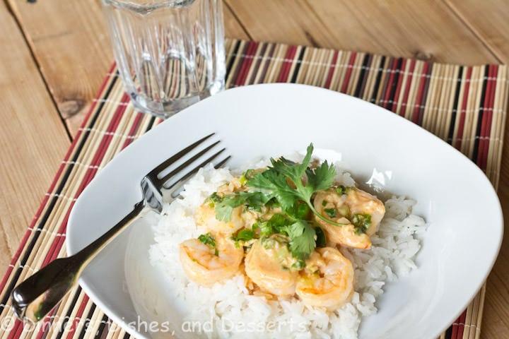 coconut curry shrimp on a plate