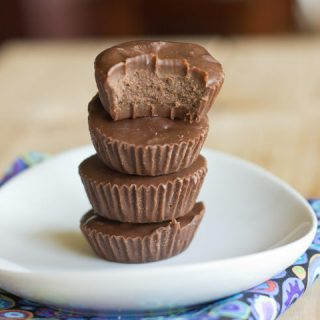 healthy peanut butter cups on a plate