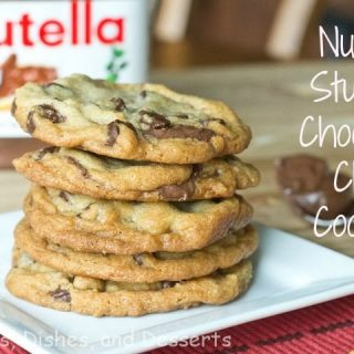 nutella stuffed chocolate chip cookies on a plate