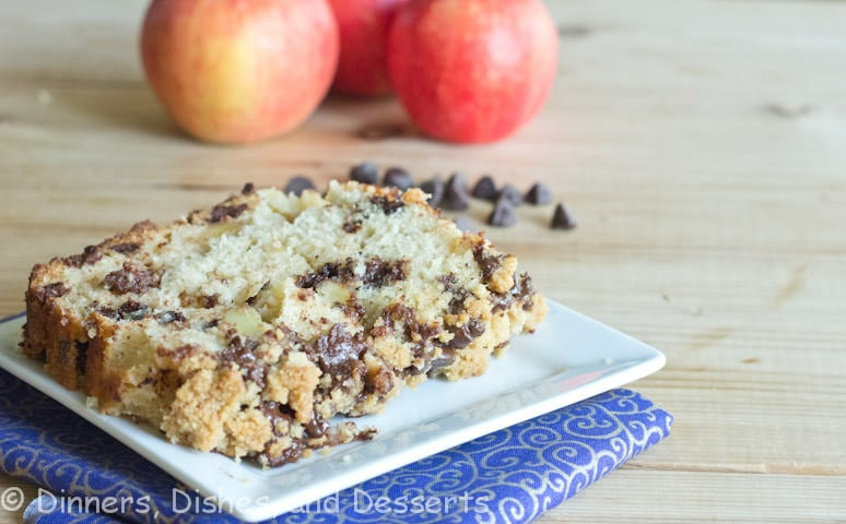 Tender and moist apple pie bread with chocolate chips, and the most ...