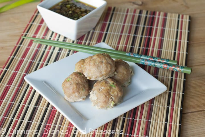 asian turkey meatballs on a plate
