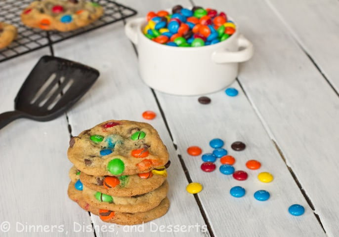 m&m cookies on a table