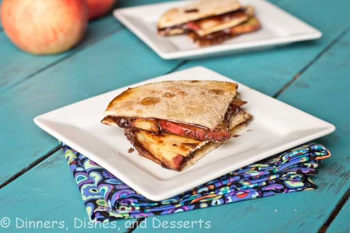 nutella apple quesadilla on a plate
