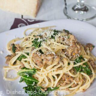 Spaghetti with Kale & Sausage #SundaySupper