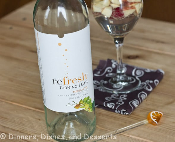 sparkling fall sangria in a cup