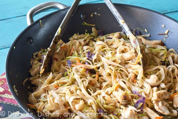 szechuan chicken and noodles in a bowl
