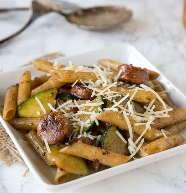Balsamic Pasta with Chicken Sausage & Veggies