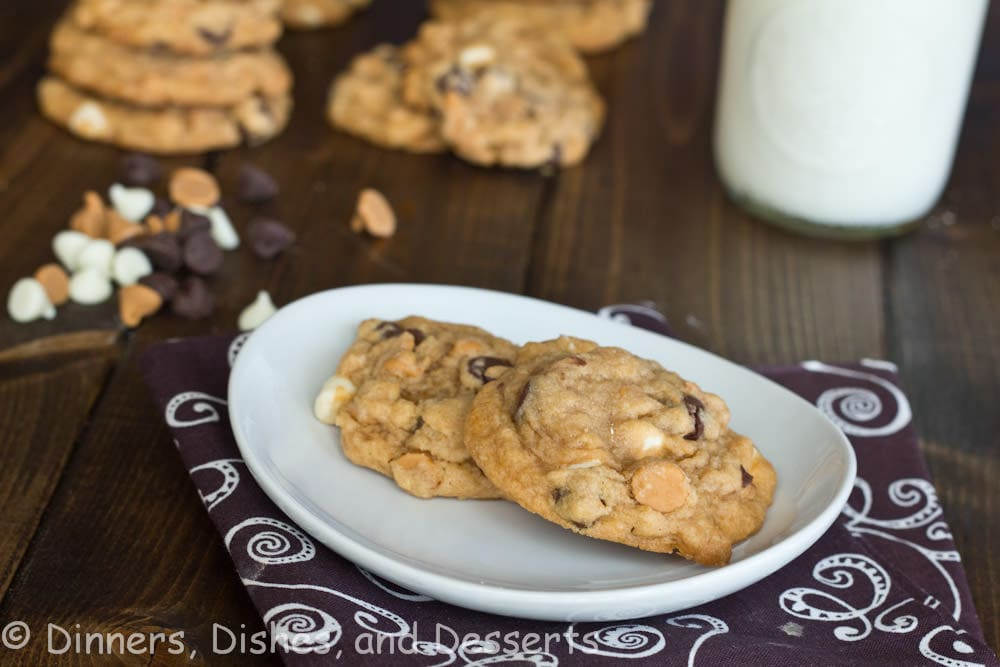 butterscotch pudding triple chocolate cookies on a table