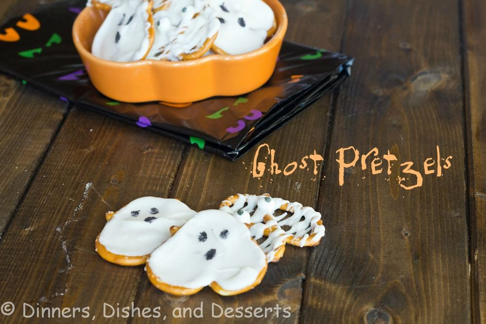 ghost pretzels on a table