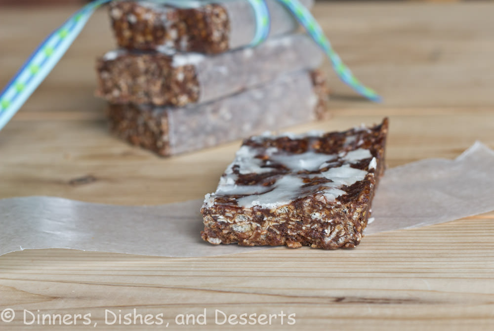 chocolate mint cliff bars on a table