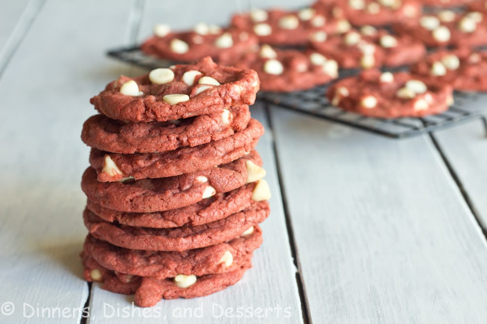 pink velvet cookies on a table