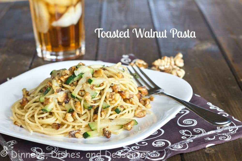 toasted walnut pasta on a plate