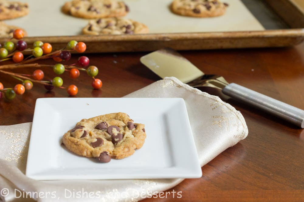 brown butter toffee chocolate chip cookies on a pan