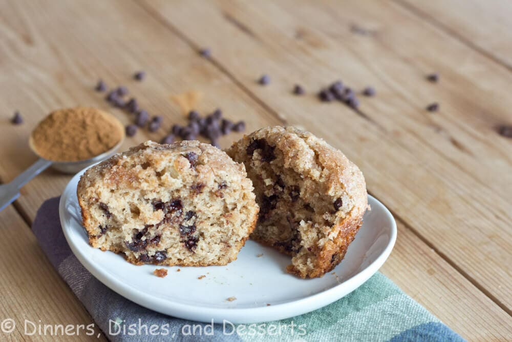 cinnnamon chocolate chip muffins on a plate