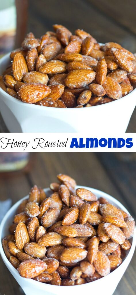 spicy honey roasted almonds in a bowl close up