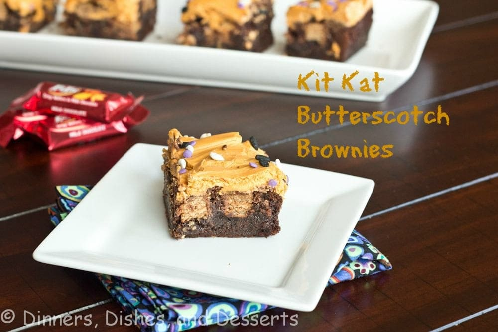 kit kat butterscotch brownies on a plate
