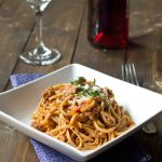 An authentic Beef Ragu Sauce, served with linguini.