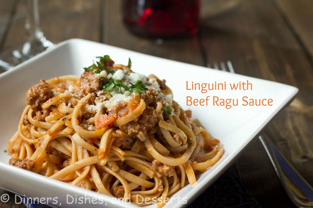 linguini with beef ragu sauce on a plate