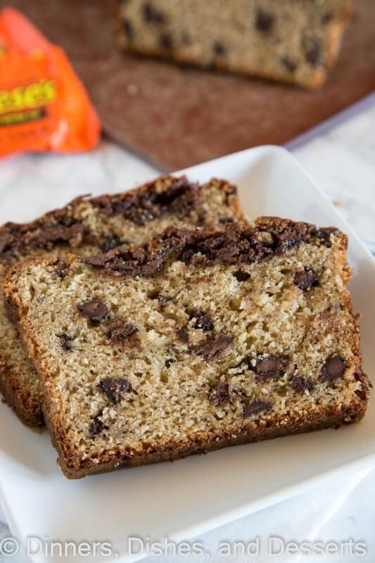 Peanut Butter Banana Bread - moist, tender banana bread made with creamy peanut butter and full or peanut butter cups!