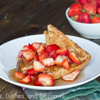 peanut butter stuffed french toast on a plate