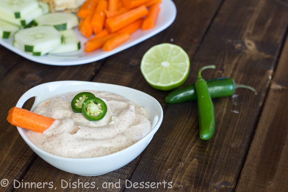 spicy chili lime yogurt dip in a bowl