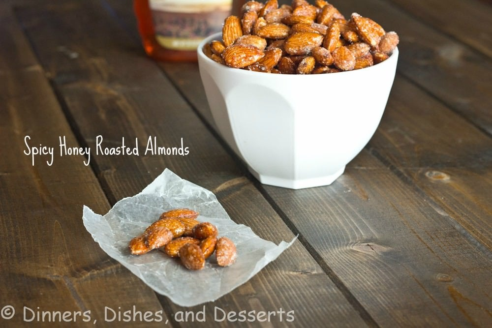 spicy honey roasted almonds in a bowl