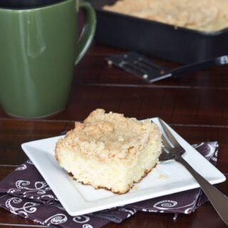 eggnog coffee cake on a plate