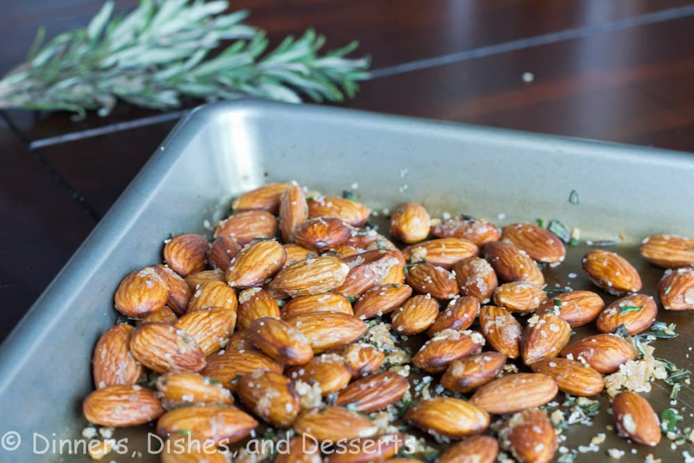 garlic rosemary scented almonds in a bowl