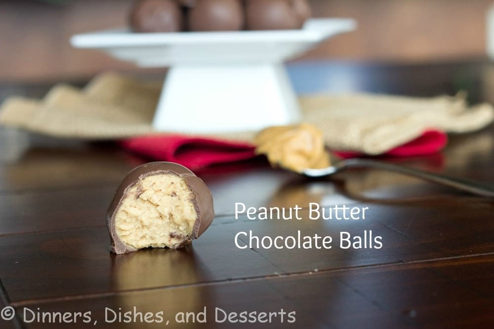 peanut butter chocolate balls on a table