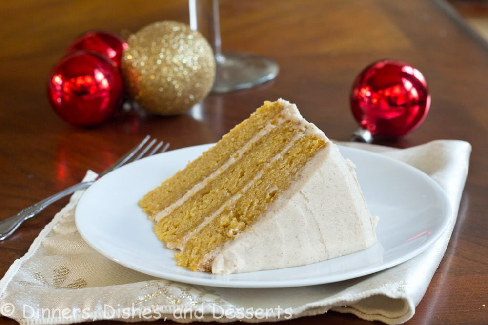 Pumpkin Dream Cake - three layers of moist pumpkin cake with a cinnamon buttercream frosting