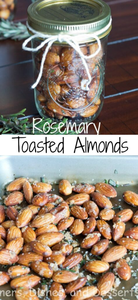 Garlic Rosemary Scented Almonds - lightly toasted almonds with rosemary and garlic. They make a great snack, topping for a salad or gift.