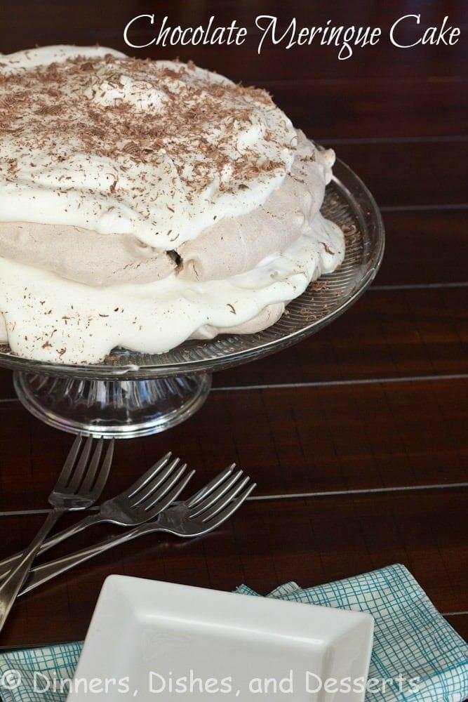 chocolate meringue cake on a tray