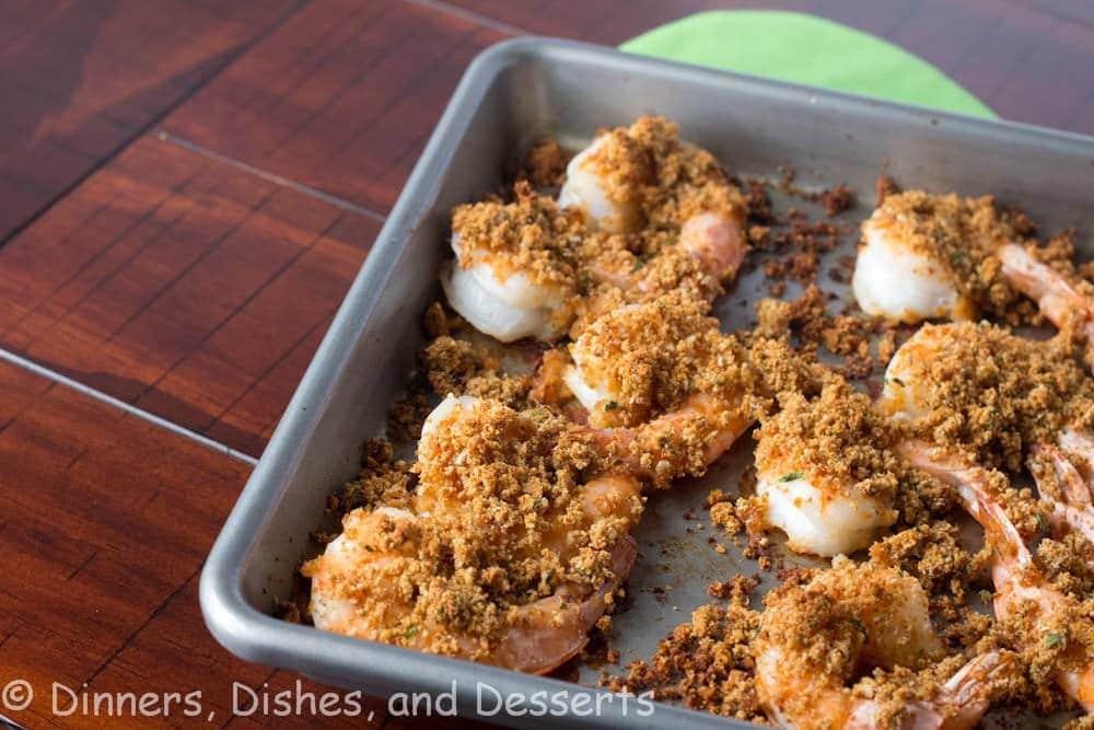 crispy baked shrimp on a tray