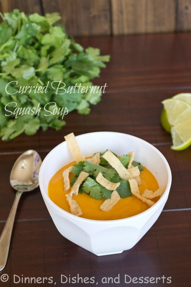 Curried Butternut Squash Soup | @dinnersdishesdessert