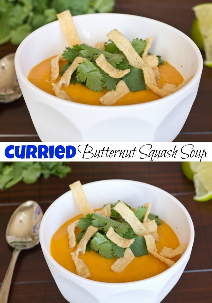 Curried Butternut Squash Soup - a light and creamy butternut sqaush soup that is full of coconut milk and curry flavor. Super quick and easy to make!