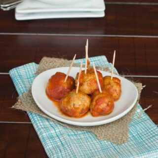 italian chicken meatballs on a plate