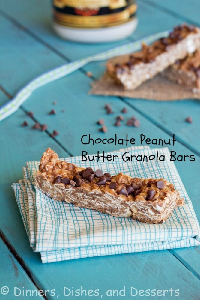 chocolate peanut butter granola bars on a napkin