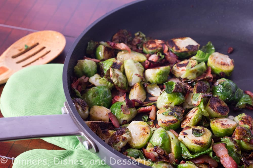 roasted brussels sprouts with bacon and balsamic in a pan