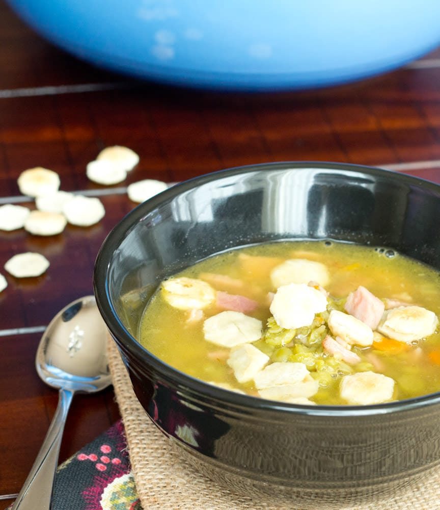 ham and split pea soup in a bowl