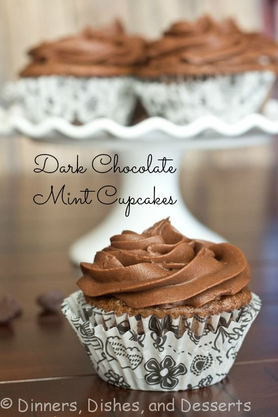 dark chocolate mint cupcakes in wrappers