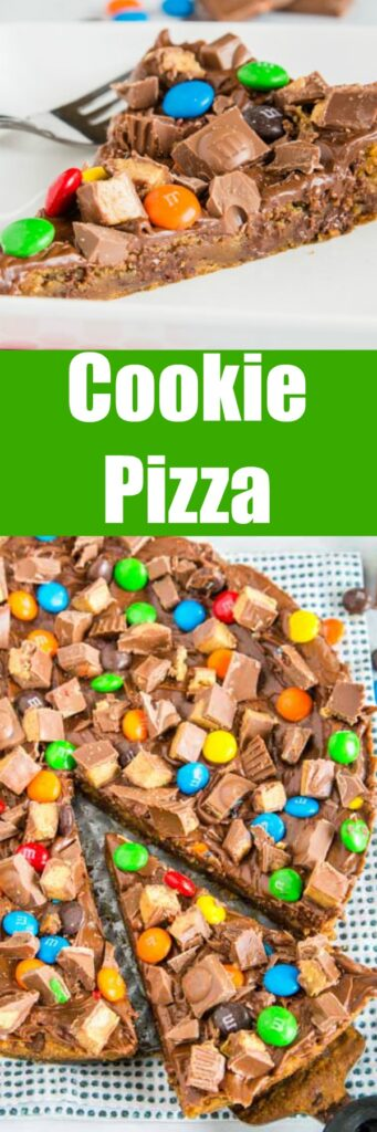 Chocolate Chip Cookie Pizza - A dessert pizza with a chocolate chip cookie base. Topped with all your favorite chocolate candies for an over the top, but super simple dessert!