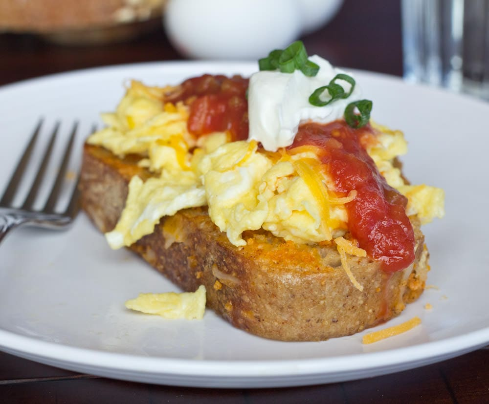 spicy enchilada french toast on a plate